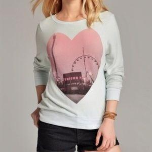 WILDFOX Fun Town Pier  Soft Mint Green Sweatshirt